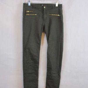 Ladies H&M Olive Zipper Stretch Pants Size 8